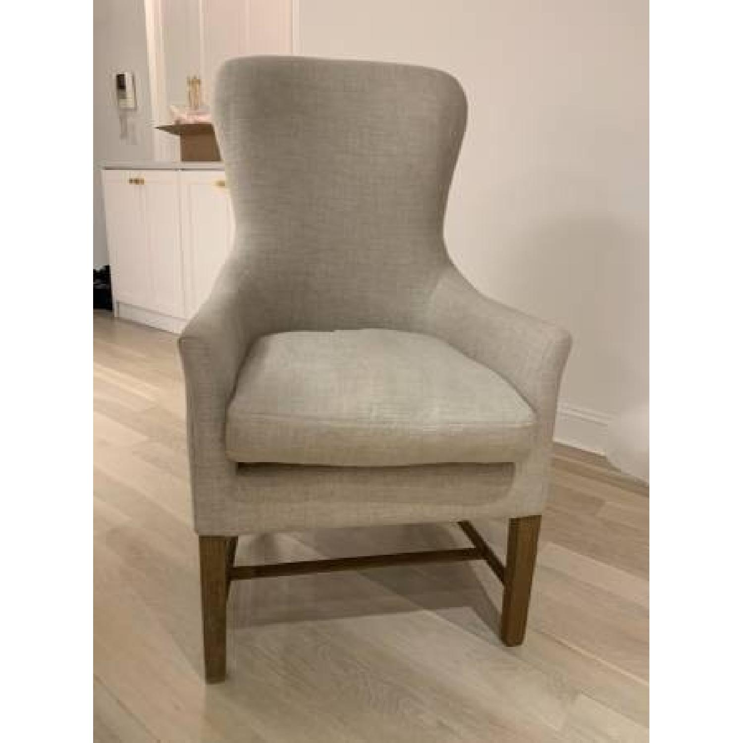 Restoration Hardware Linen Upholstered Accent Chair-0