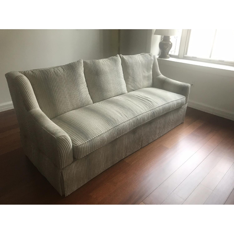 White Velvet Upholstered Sofa-0