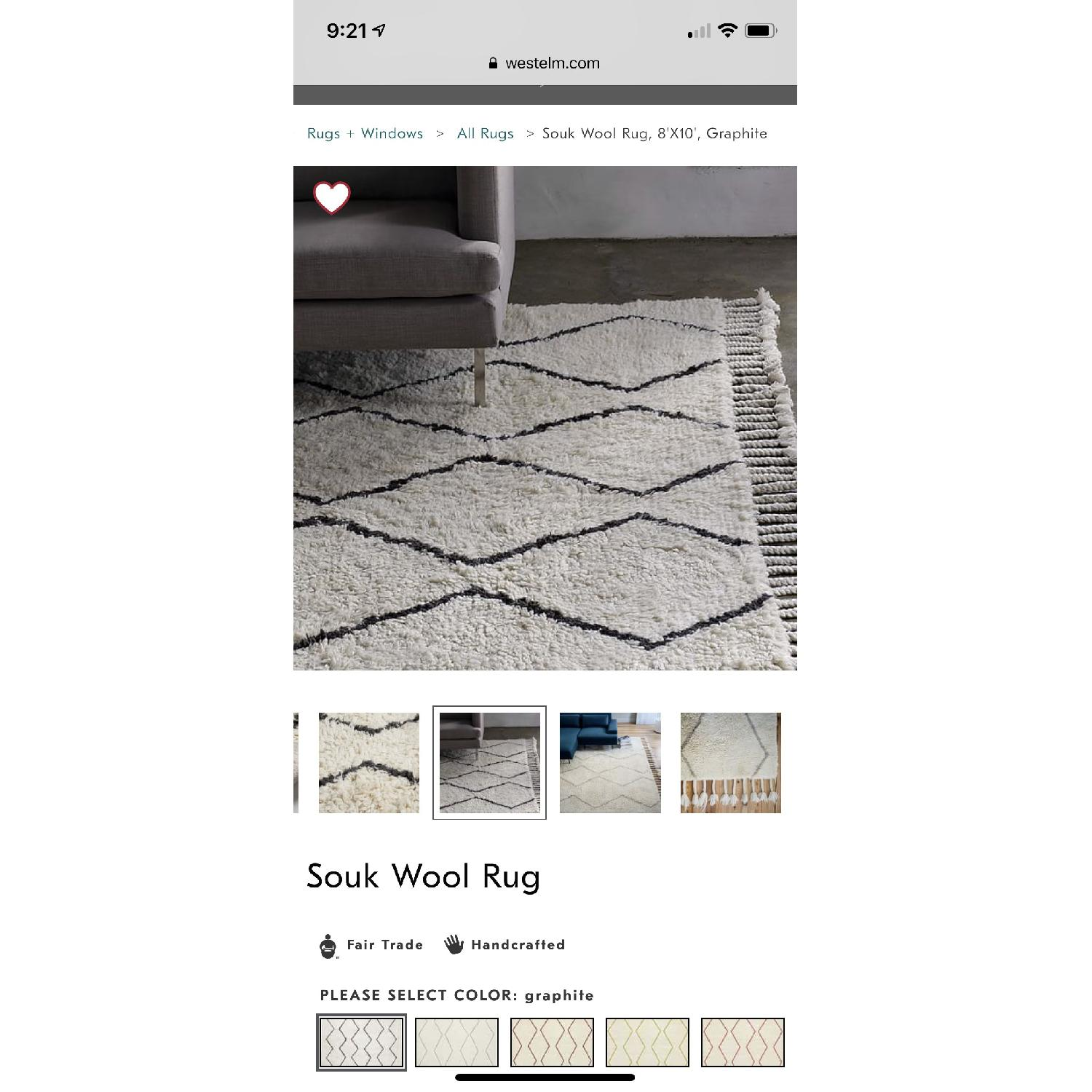 West Elm Souk Wool Rug in Natural Graphite-0