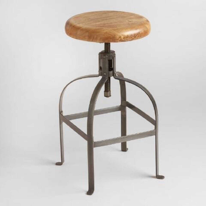 World Market Adjustable Round Wood & Metal Stool-3
