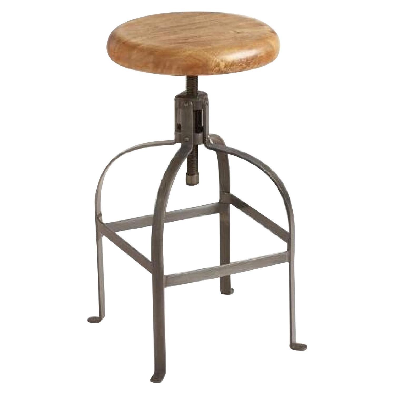 World Market Adjustable Round Wood & Metal Stool