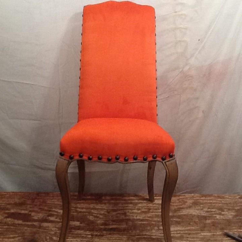 High Back Orange Accent Chair-5