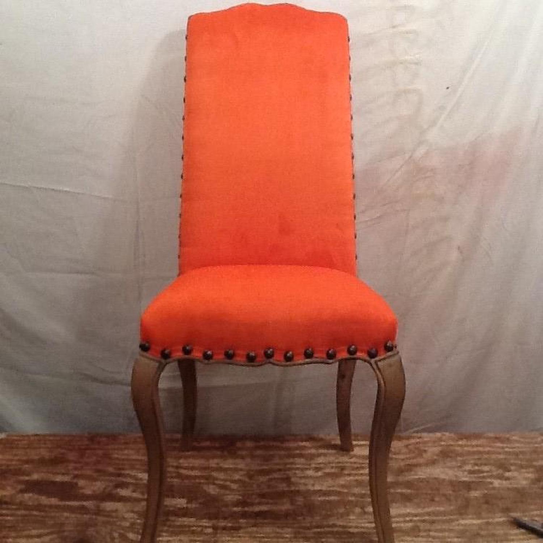 High Back Orange Accent Chair-7