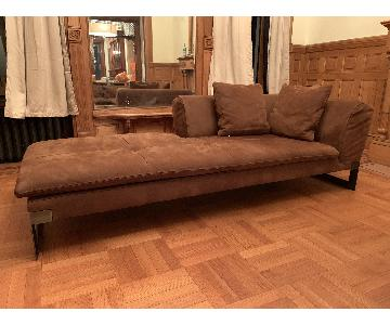 Baxter Suede-Like Leather Chaise Lounge
