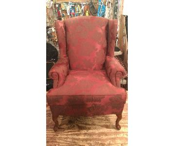 Queen Ann Burgundy & Brown Print Chair