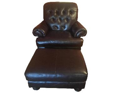 Espresso Leather Chair & Ottoman
