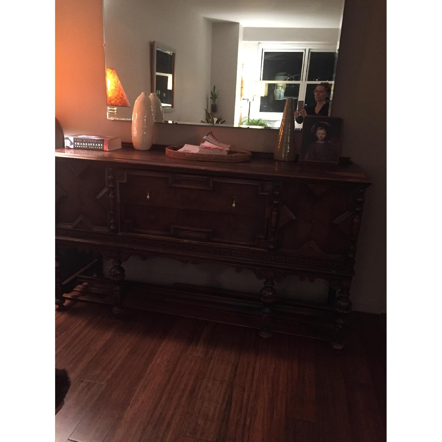 Vintage Handcrafted 1950's Wood Buffet Table-1