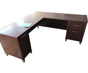 Steelcase Cherry L-Shaped Desk & File Cabinet