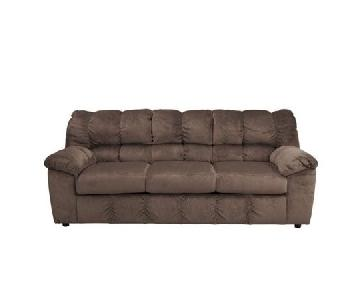 Ashley Brown Microsuede 3-Seater Sofa