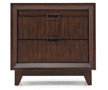 Dark Wood 2-Drawer Nightstand