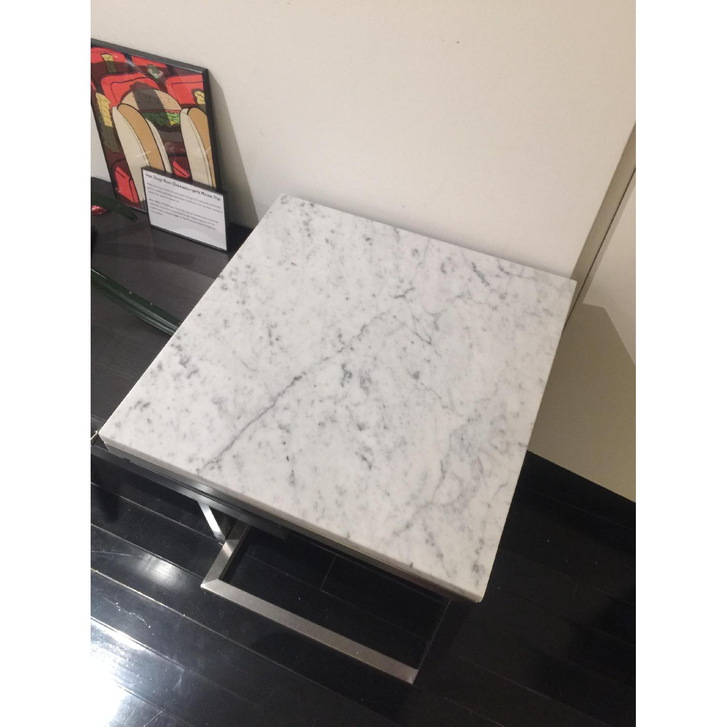 Room & Board Portica Marble Stainless Steel Side Table-2