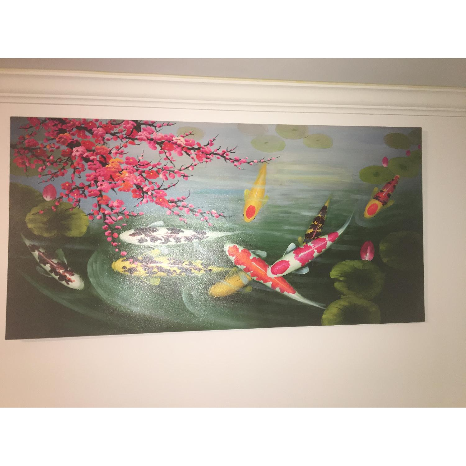 Japanese Koi Fishes Canvas Painting-0