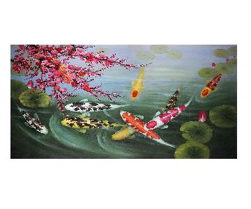 Japanese Koi Fishes Canvas Painting
