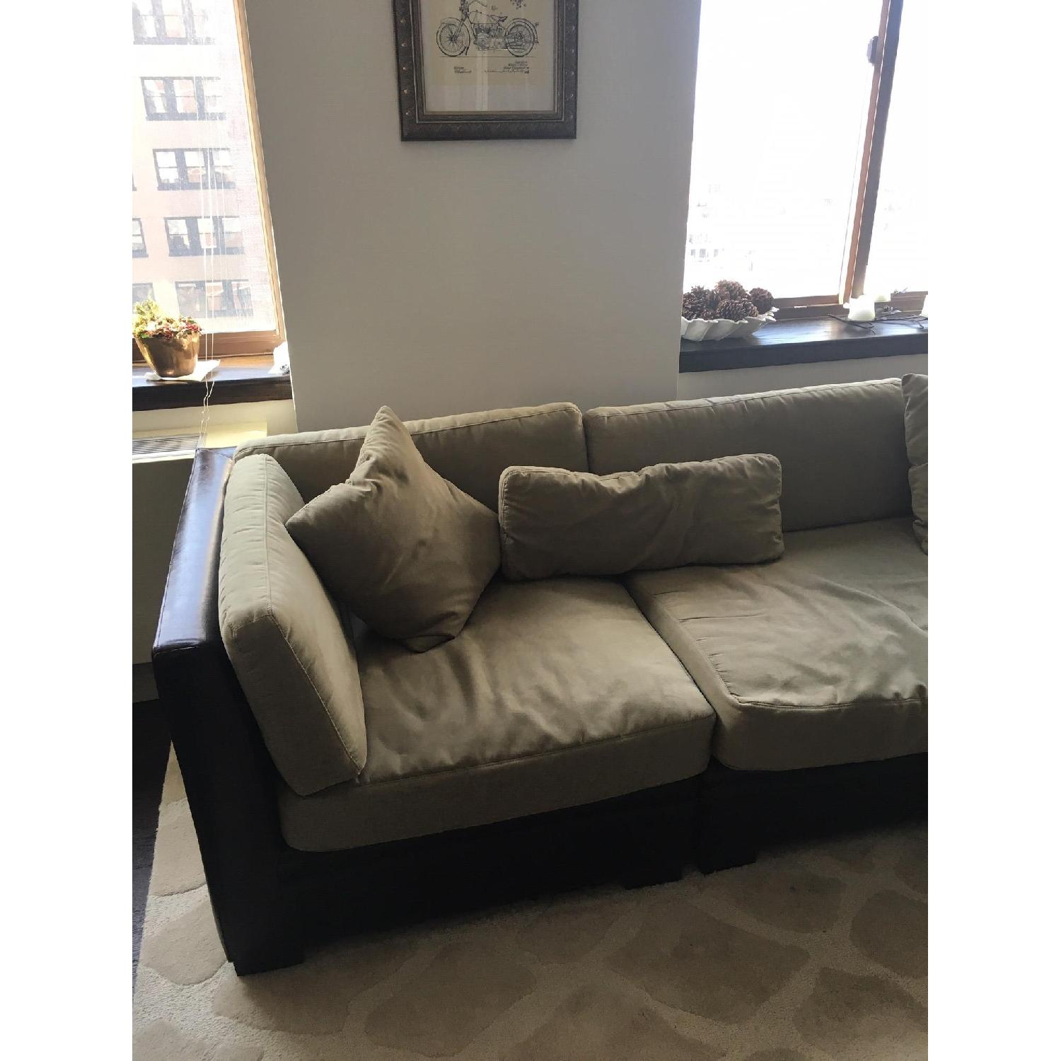Macy's Black Leather & Green Faux Suede Sectional Sofa-2