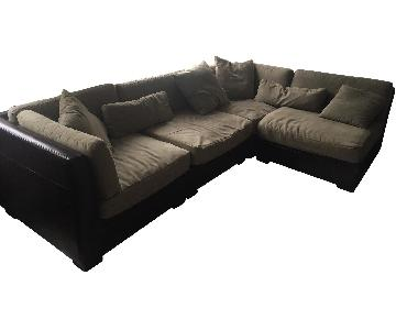 Macy's Black Leather & Green Faux Suede Sectional Sofa