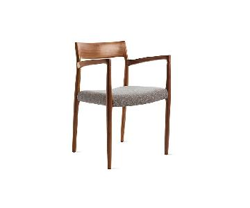 Moller Model 57 Armchairs in Walnut Grey Brown Hallingdal