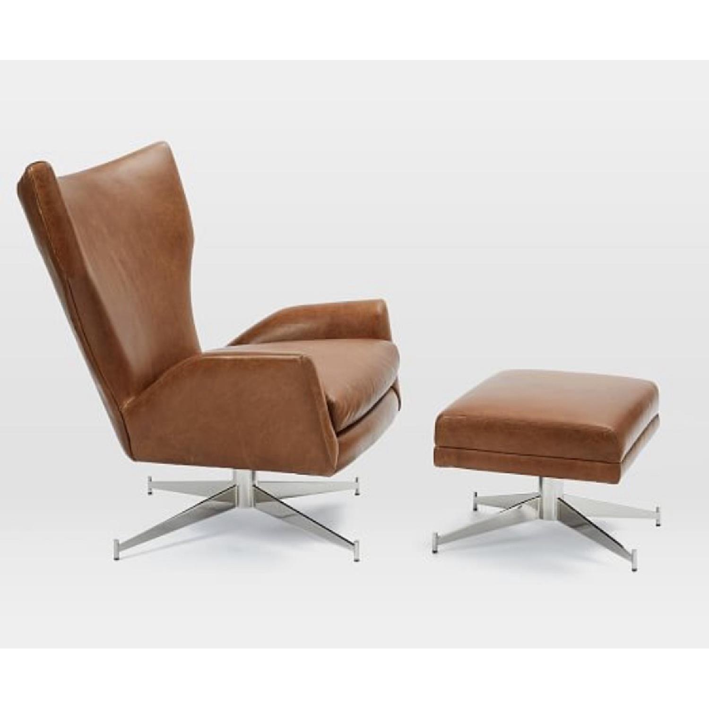 West Elm Hemming Leather Armchair & Ottoman-0