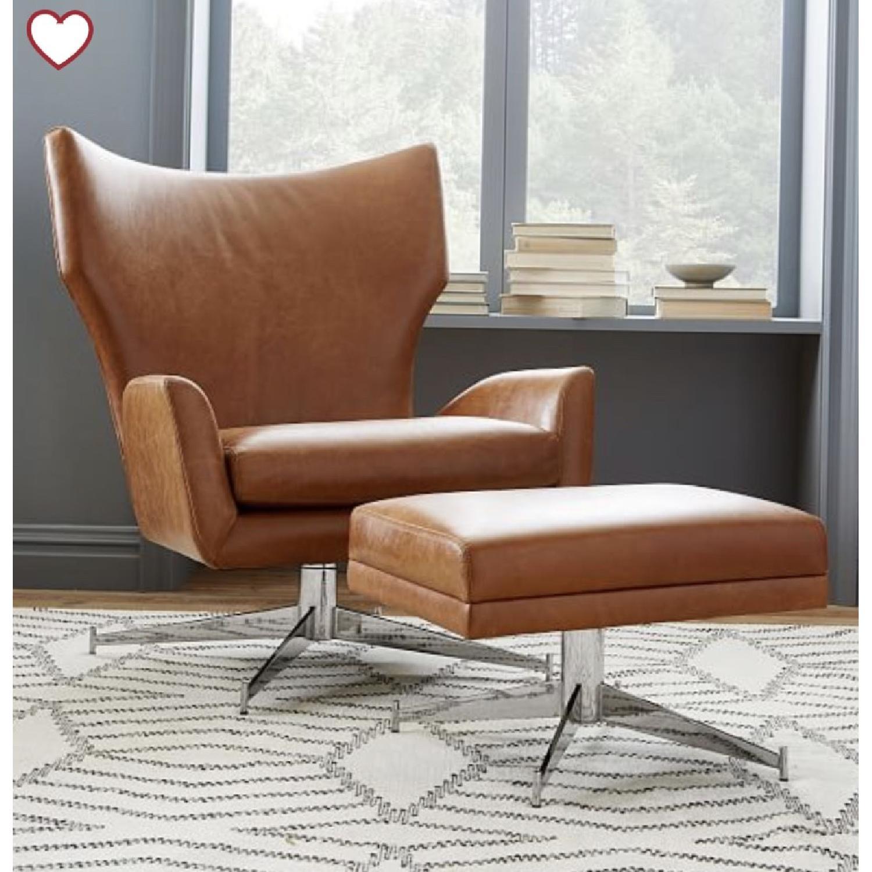West Elm Hemming Leather Armchair & Ottoman-1