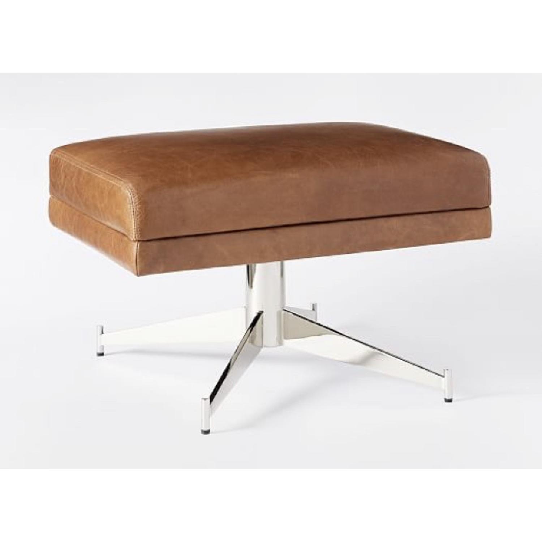 West Elm Hemming Leather Armchair & Ottoman-2