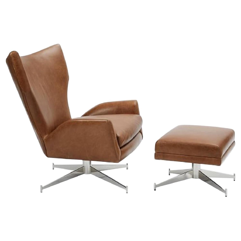 West Elm Hemming Leather Armchair & Ottoman