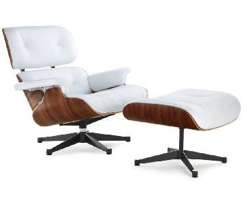 Manhattan Home Eames White Lounge Chair Replica & Ottoman