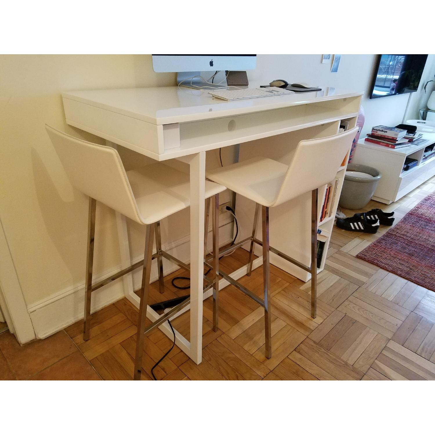 CB2 Public White High Dining Table-1
