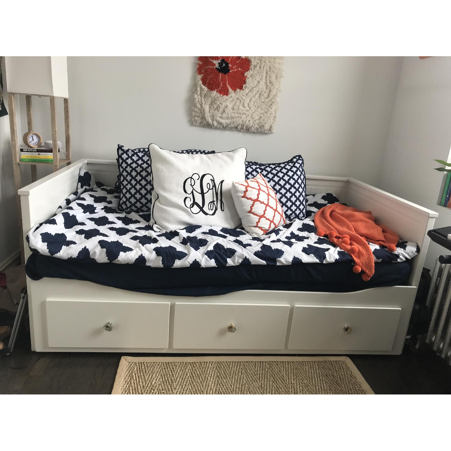 Ikea Hemnes White Daybed w/ 3 Drawers & Trundle-0