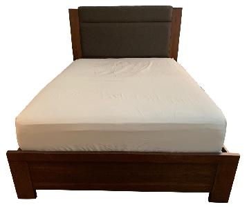 Raymour & Flanigan Wood Bed w/ Padded Headboard
