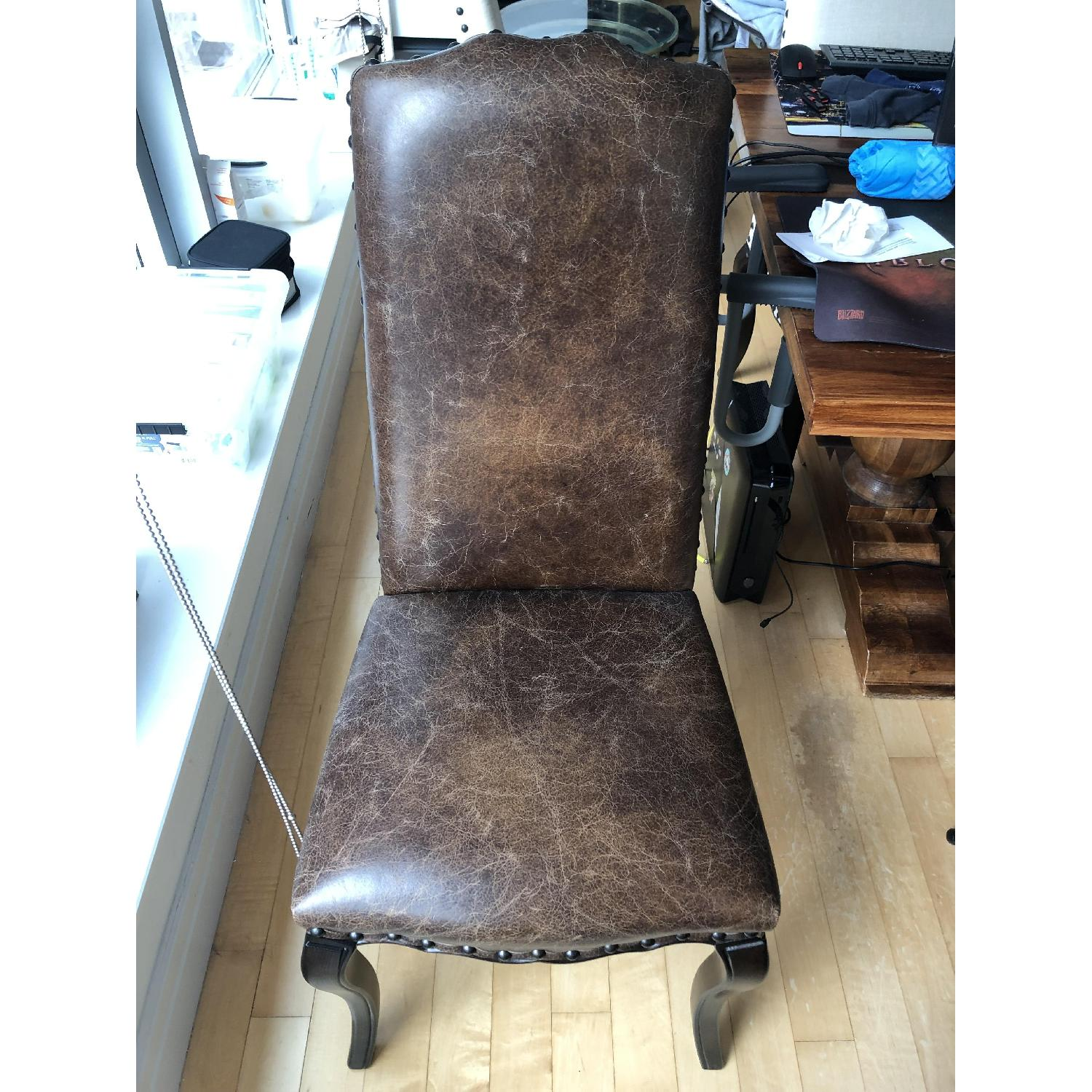 Pottery Barn Calais Leather Dining Chairs-1