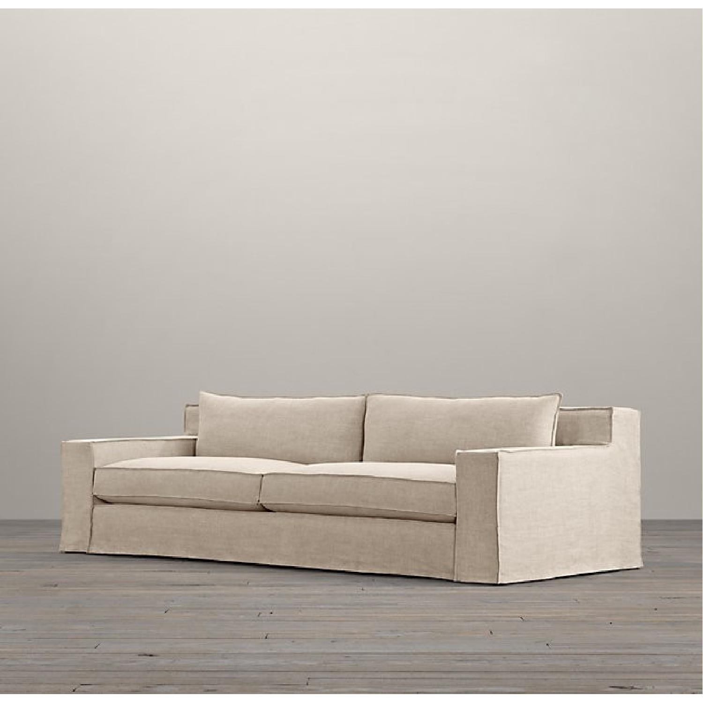 Restoration Hardware Modern White Slipcovered Sofa-0