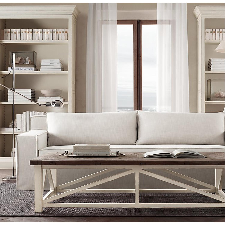 Restoration Hardware Modern White Slipcovered Sofa-1