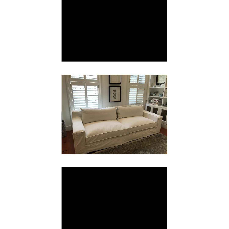 Restoration Hardware Modern White Slipcovered Sofa