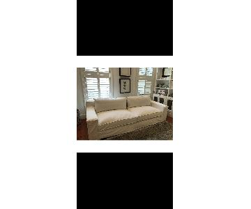 Restoration Hardware Modern White Slipcovered Sofa