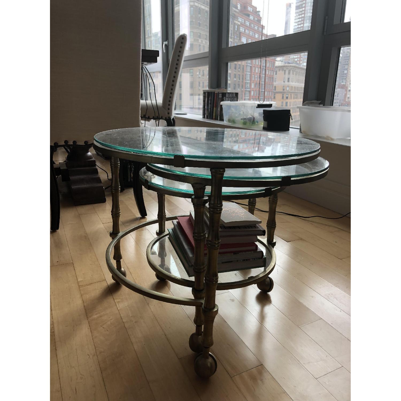 Pottery Barn Nesting Glass Coffee Table-2