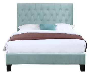 Emerald Home Tufted Queen Upholstered Bed in Light Blue/Teal