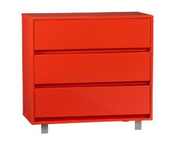 CB2 Lobster Red Modern 3 Drawer Chest