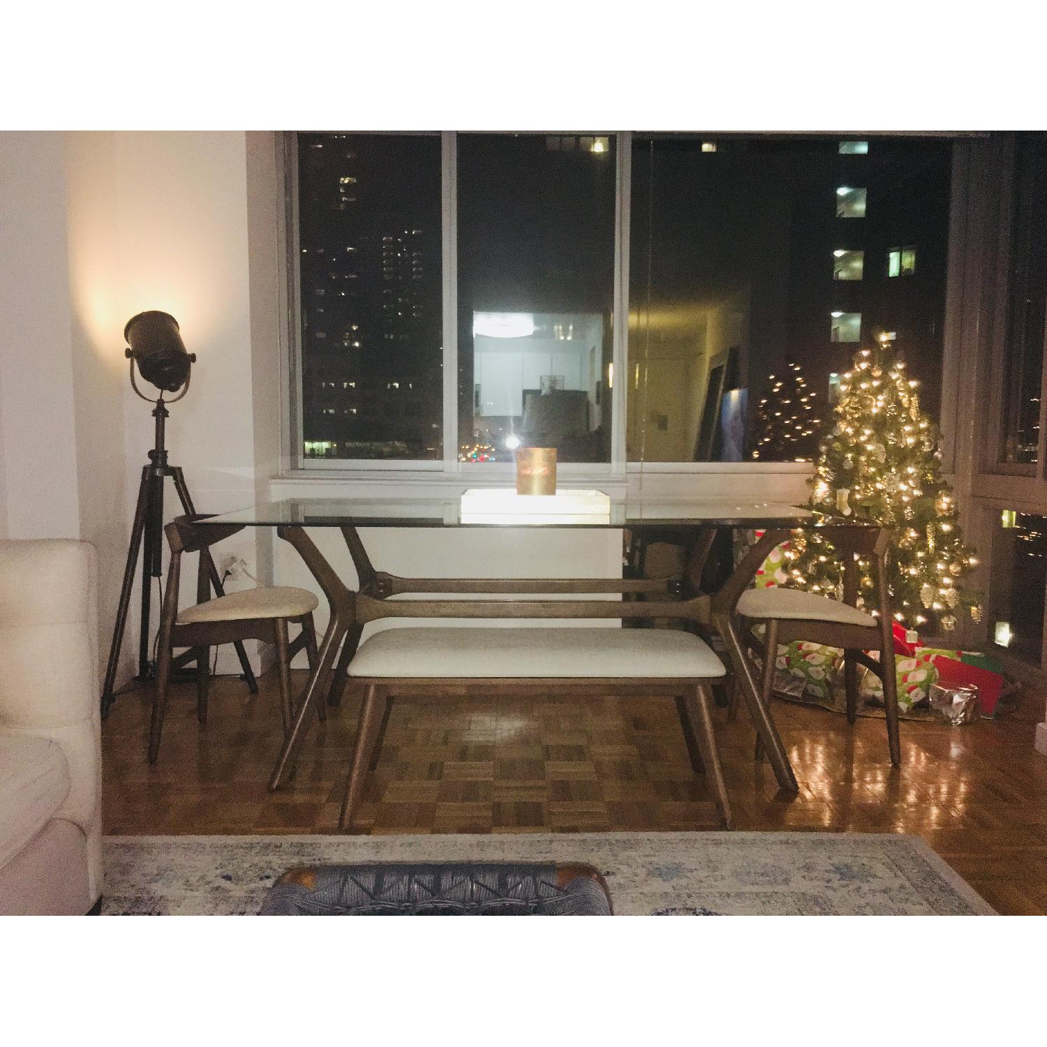 InspireQ Glass-Top Dining Table w/ 2 Chairs & 1 Bench-1