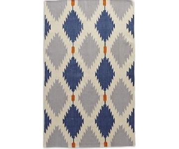West Elm Phoenix Wool Dhurrie Rug in Regal Blue