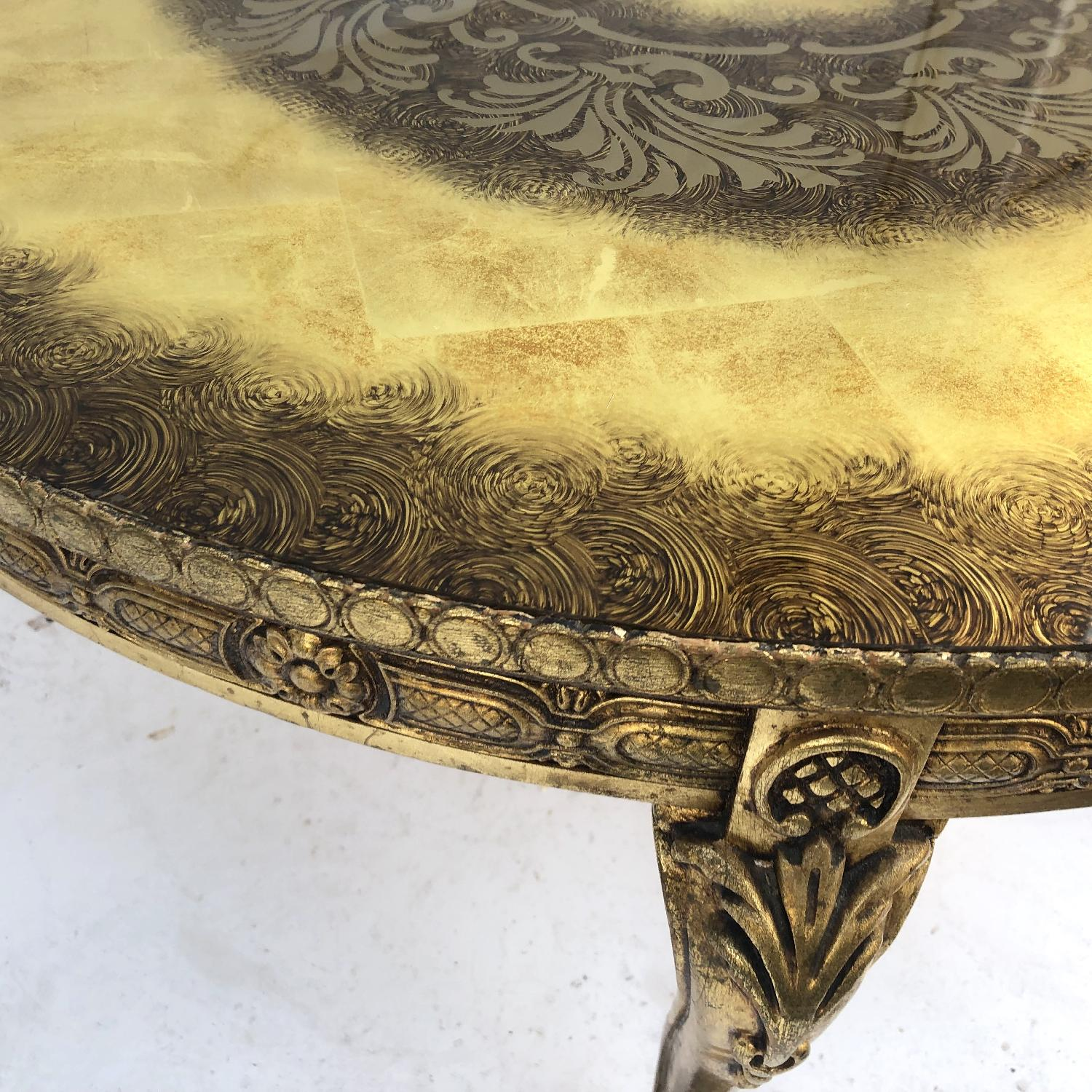 Vintage Gold & Glass Coffee Table-8