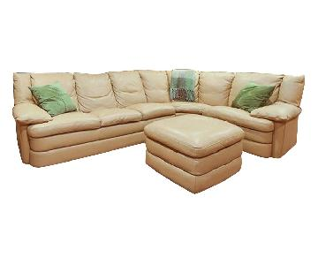 Natuzzi Puglia 3-Piece Leather Sectional Sofa & Ottoman