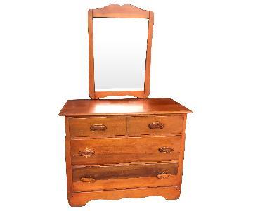 Antique 1930s Maple Dresser w/ Mirror & Original Handles