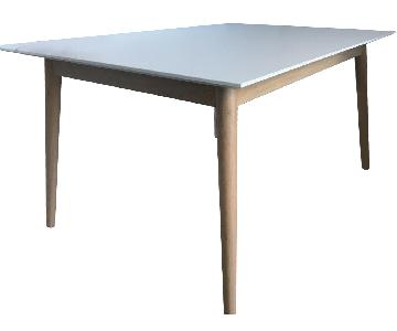 Roche Bobois White & Wood Extendable Dining Table