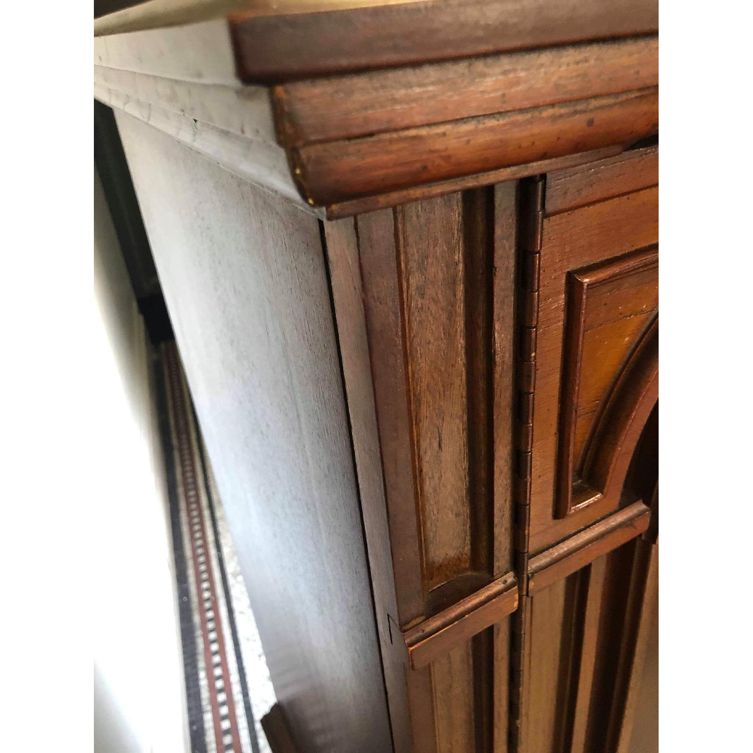 Vintage 1970s Solid Wood Armoire w/ Original Brass Handles-2