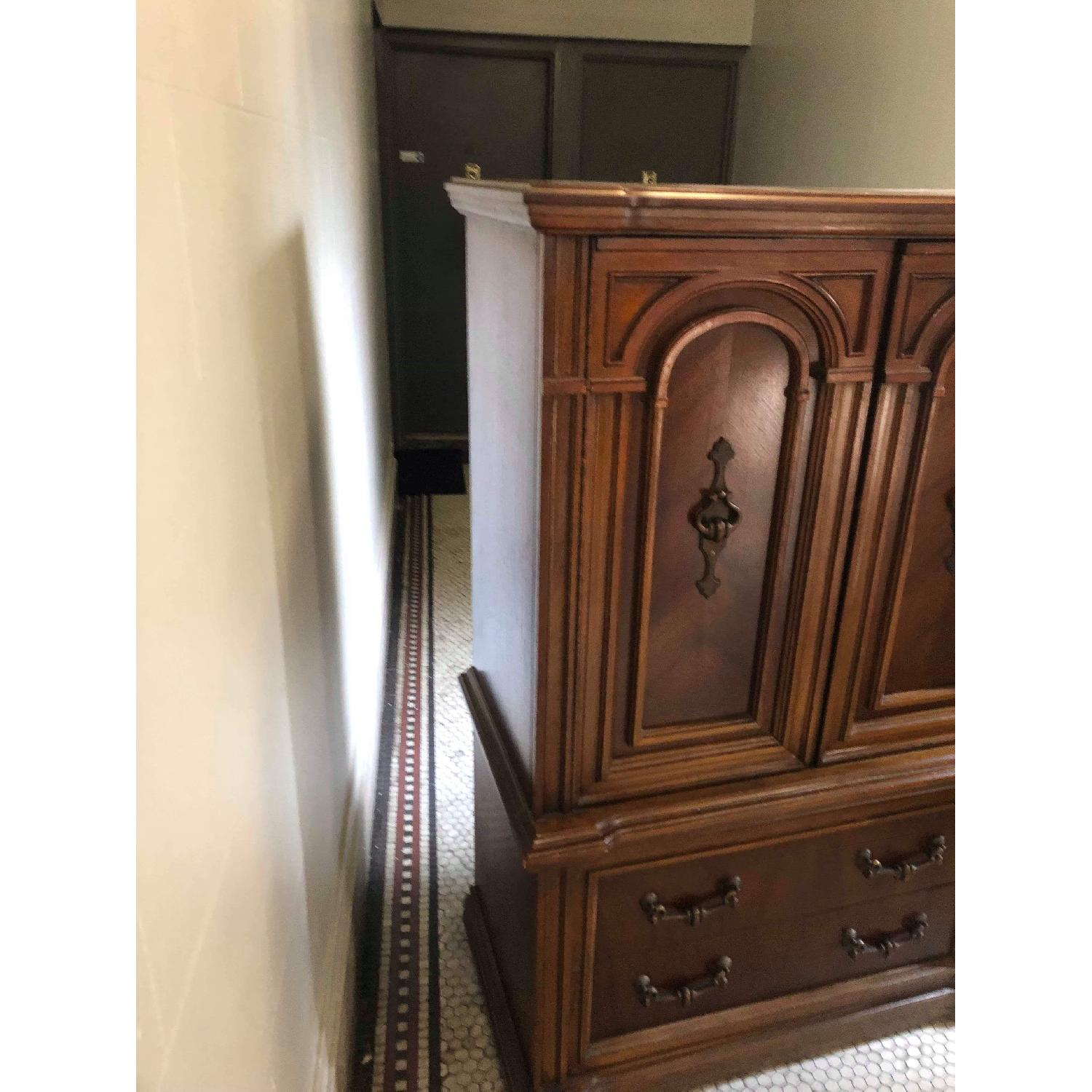 Vintage 1970s Solid Wood Armoire w/ Original Brass Handles-6