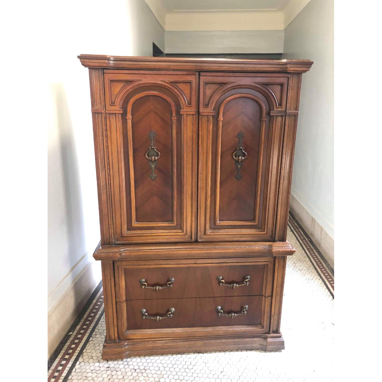 Vintage 1970s Solid Wood Armoire w/ Original Brass Handles-15