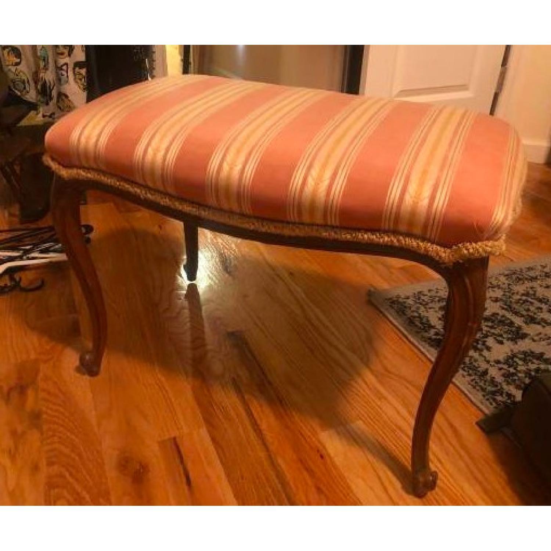 Antique Upholstered Wooden Bench-2
