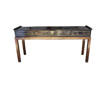 Drexel Black Lacquer Chinese Mid-Century Sofa Table