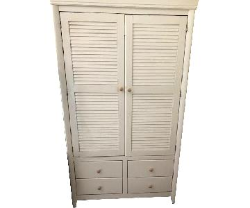 Wood Armoire w/ Solid Wood Shelves & Drawers