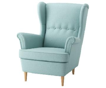 Ikea Stradmon Wing Chair in Skiftebo Light Turquoise