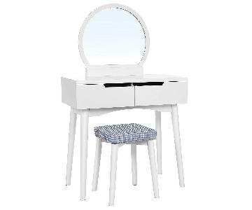 Vasagle Vanity Table w/ Round Mirror & Cushioned Stool